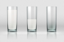 Milk Glass. Realistic Empty, H...