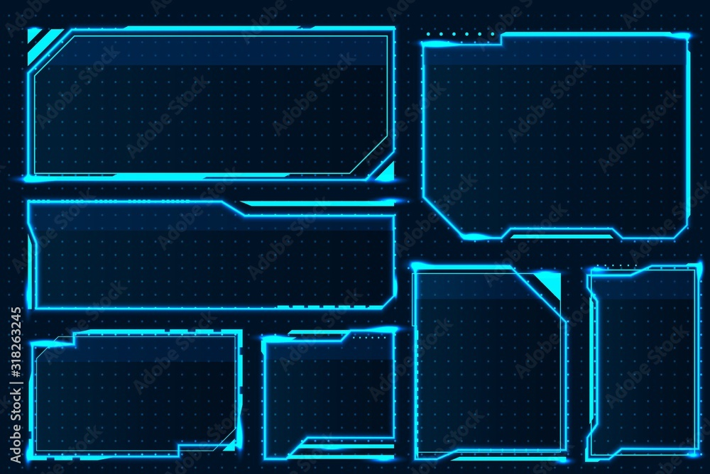 Fototapeta HUD box. Abstract game screen elements, futuristic technology interface frame, sci-fi military device concept. Vector hologram illustration game GUI