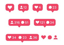Social Media Interface Icon Set. Like, Comment, Follower Icons. Vector Illustration Love Heart Buttons For Interfaces Application