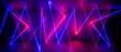 Leinwanddruck Bild - 3d abstract neon background, chaotic lines, geometric shapes, trajectory path glowing in ultraviolet light, violet pink blue laser rays