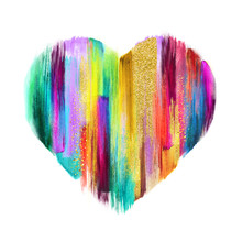 Abstract Multicolored Heart Sh...