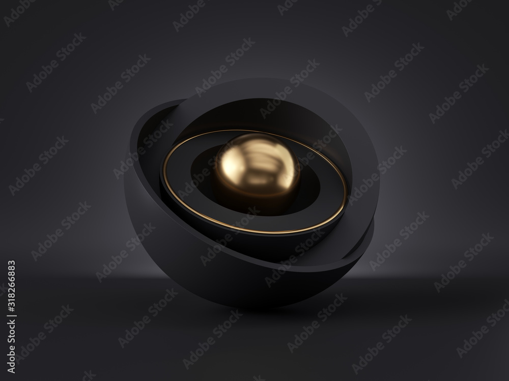 Fototapeta 3d abstract minimal modern black gold background, golden core ball hidden inside black hemisphere shell, isolated objects, stack of bowls, simple clean style, premium design, classy decor