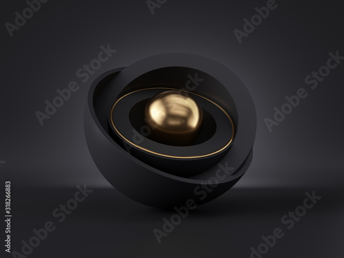 3d abstract minimal modern black gold background, golden core ball hidden inside black hemisphere shell, isolated objects, stack of bowls, simple clean style, premium design, classy decor