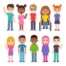 Cartoon Diverse Children Set
