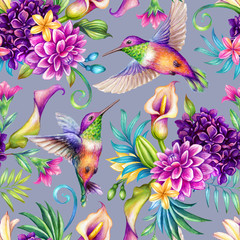 Fototapeta Ptaki digital watercolor botanical illustration, seamless floral pattern, humming birds, wild tropical flowers, violet background. Paradise nature, garden. Palm leaf, calla lily, plumeria, hydrangea, gerber