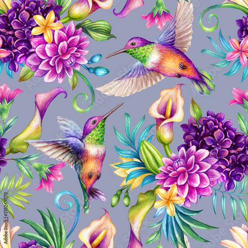 Tapeta fioletowa  digital-watercolor-botanical-illustration-seamless-floral-pattern-humming-birds-wild-tropical-flowers-violet-background-paradise-nature-garden-palm-leaf-calla-lily-plumeria-hydrangea-gerber