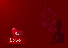 Romantic  Love Concept Vector. Traveling Girl Is Sitting On Suitcase And Looking At Falling Dark Red Hearts. All Is On Red Color Gradient Background.