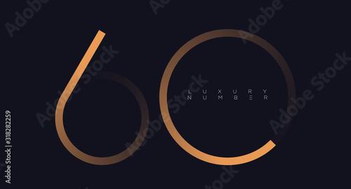 Golden line six - zero numbers vector font alphabet, modern minimal luxury flat Canvas Print