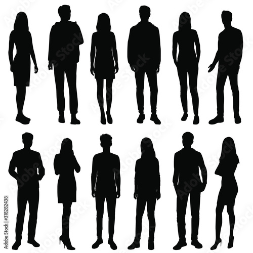 Obraz Vector silhouettes of  men and a women, a group of standing  business people, black color isolated on white background - fototapety do salonu