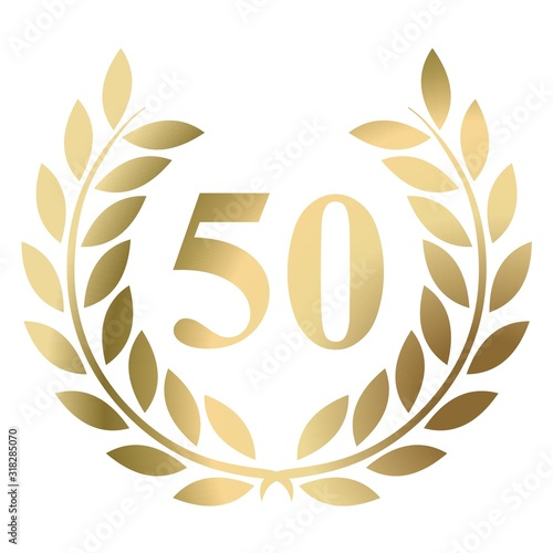 Photo Fiftieth birthday gold laurel wreath vector isolated on a white background