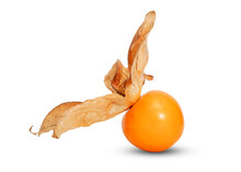 Closeup Single Ripe Orange Cape Gooseberry  On White Background.Isolated Photo And Clipping Path.