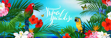 Beautiful Tropical Banner With Flowers,butterfly,parrots And Palm Leaves On Sea Background
