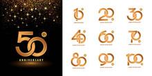 Set Of Anniversary Logotype Design, Celebrating Anniversary Logo Multiple Line Golden For Celebration