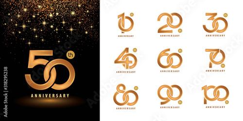 Fotografía Set of Anniversary logotype design, Celebrating Anniversary Logo multiple line g