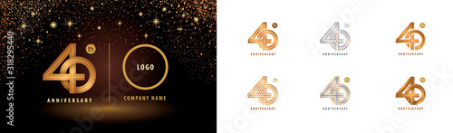 Cuadros en Lienzo Set of 40th Anniversary logotype design, Forty years anniversary celebration
