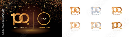 Fotografía Set of 100th Anniversary logotype design, Hundred years anniversary celebration
