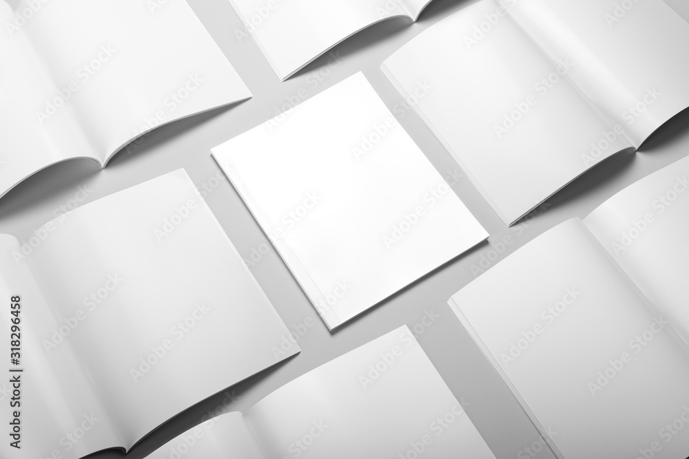 Fototapeta Real photo blank portrait A4, US-Letter, brochure magazine collage mockup isolated on gray background