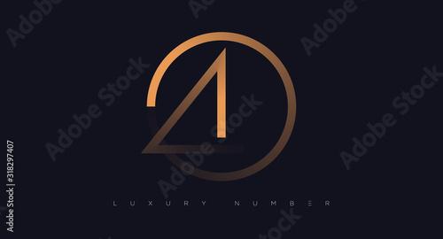 Vászonkép Four number golden icon. Flat design