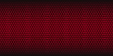 Red Abstract Vector Background. Honeycomb Pattern. Linear Website Template On Red Backdrop. Vector Geometric Pattern.