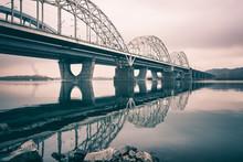 New Darnytskyi Bridge Over Dnieper River Against Sky