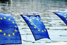 European Union Flags Tied On R...