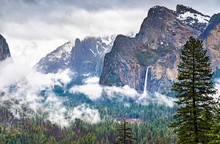 Iconic View Of Yosemite Valley In California