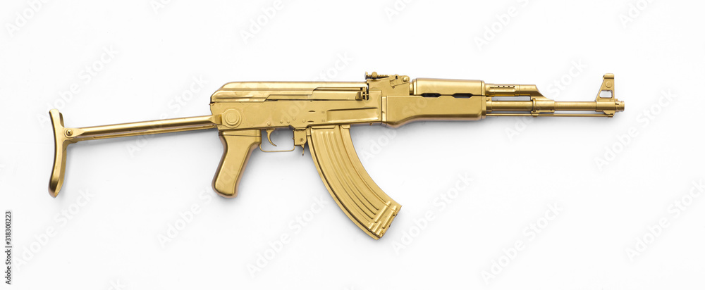 Fototapeta golden AK-47 assault rifle isolated on white background