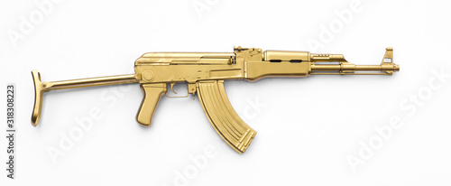 Obraz na płótnie golden AK-47 assault rifle isolated on white background