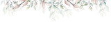 Watercolor painted floral frame on white background. Arrangement with branches and leaves.