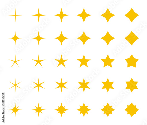 Fototapeta Stars collection. Yellow stars , vector icons, isolated on white background. Stars in modern simple flat style for web design. Vector Illustration obraz na płótnie