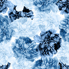 Fototapeta Peonie Abstract classic blue watercolor bohemian seamless pattern. Hand painted background. Isolated dark and light blue peony flowers and leafs. Print for textile, fabric, wedding invitation design