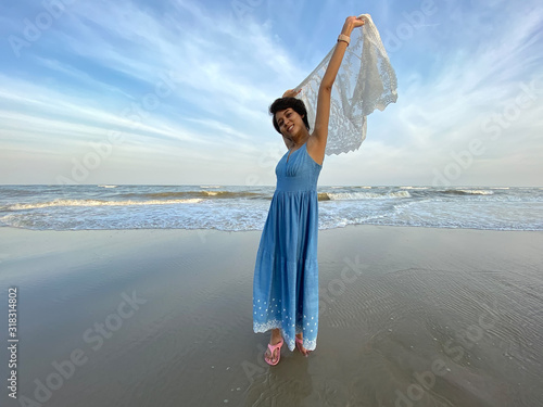 happy young asian woman on beach summer for vacation, tourism, travel, holidays and people concept Canvas Print