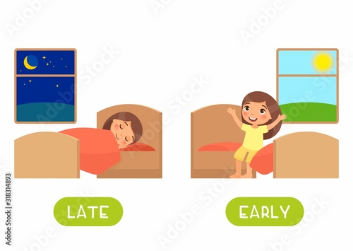 Photo Late and early antonyms flashcard flat vector template