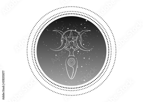 Obraz na plátne spiral goddess of fertility and triple moon wiccan