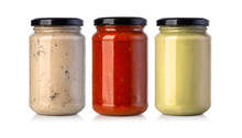 Sauce Jars On White