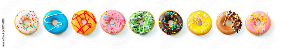 Various colourful donuts in a row