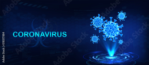 Fototapeta Hologram of coronavirus COVID-2019 on a blue futuristic background. Deadly type of virus 2019-nCoV. 3D models of coronavirus bacteria. Vectonic illustration in HUD style obraz