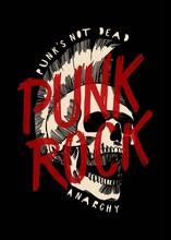 Punk Rock Skull With Mohawk Haircut Music Print Design Vector Illustration.