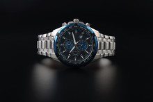 Men's Wrist Metal Watch On Black Background