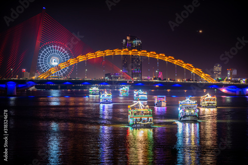 Busy Da Nang City at night  Dragon Bridge (Cau Rong) Canvas Print