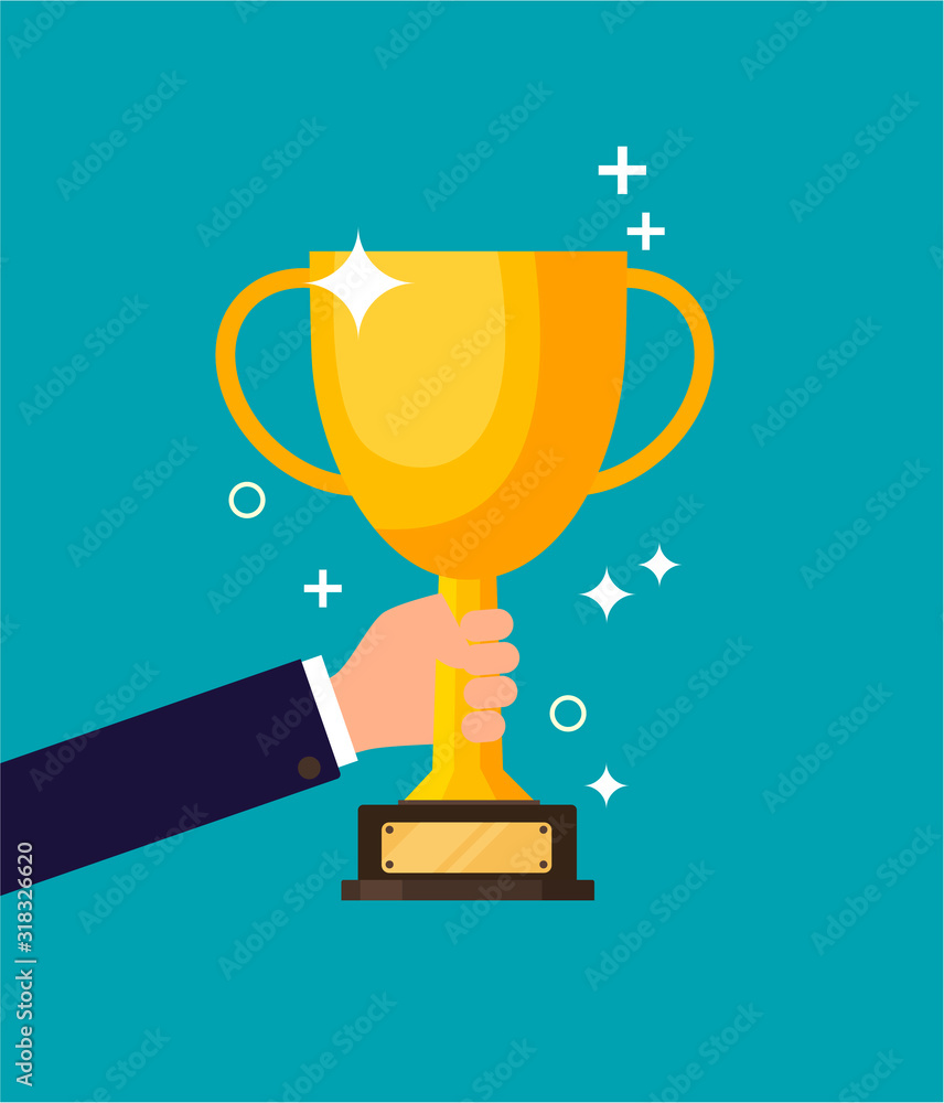 Fototapeta Winner holds Trophy Icon. The vector golden trophy is a symbol of victory in a sporting event. Champion Prize for first place. Concept of success and business goals. isolated background.