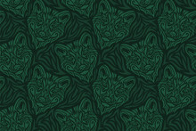 Hand Drawn Green Seamless Patt...