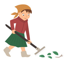 Vector Illustration Of A Girl Raking Leaves With Rakes Isolated On White Background. Cute Kid Doing Garden Work. Spring Gardening Activity Picture With Funny Character. .
