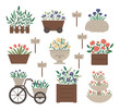Vector illustration of different flower beds. Garden decorative flowerbeds with plants. Collection of beautiful spring and summer herbs and flowers with sign plates..