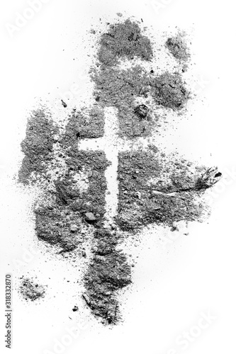 Ash wednesday cross made of ash or dust, as christian faith, lent or religion holiday concept Wallpaper Mural