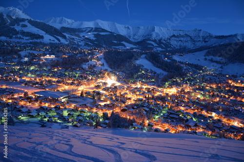 Coucher de soleil Alpes Megève Haute Savoie France Canvas Print