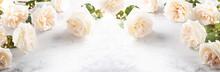 Beautiful White  Roses Flowers .