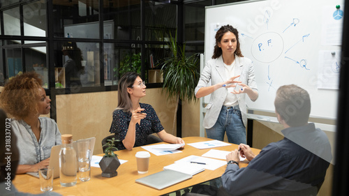 Female speaker hold meeting make board presentation for colleagues Canvas-taulu