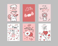 Valentine's Day. Set Of Cards: Elephant, Lion, Balloons From Hearts, Happy Valentine's Day, I Love You, You Are In My Heart, I Love And I Can Fly, Banner.