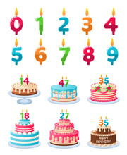 Cakes With Candle Numbers. Ann...